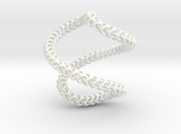 Cubichain Necklace 12 (56cm) in White Processed Versatile Plastic