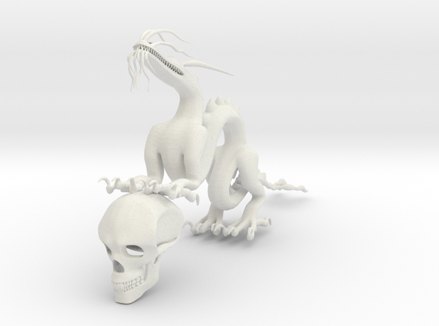 "6"" Chinese Dragon Human Skull Pose1 in White Natural Versatile Plastic"