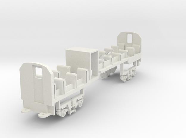Mbxd2, 002, HOe scale, railcar seats, bogie sides in White Natural Versatile Plastic