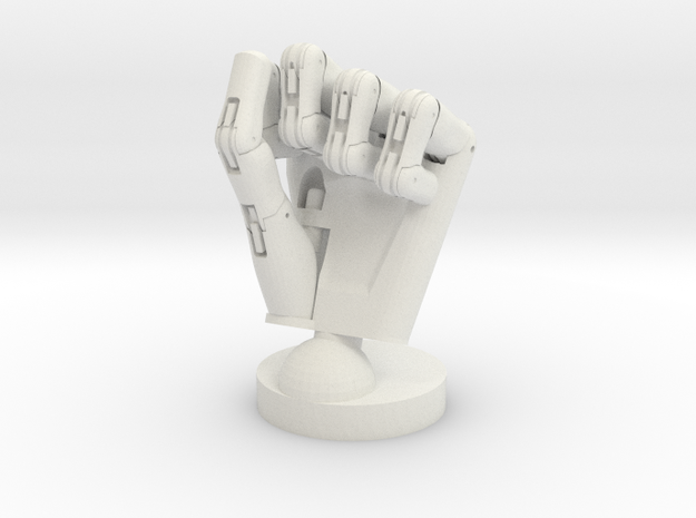 Cyborg hand posed fist in White Natural Versatile Plastic