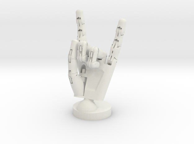 Cyborg hand posed rock in White Natural Versatile Plastic