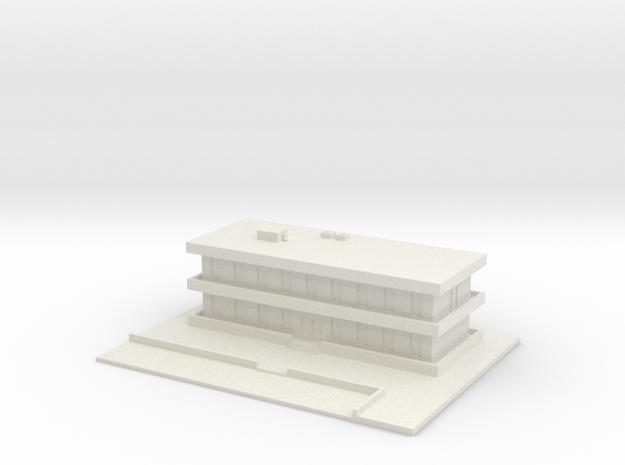 1/700 Barracks With Carpark in White Natural Versatile Plastic