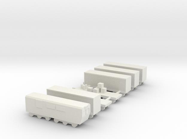 1/700 Goods Cargo Train Set in White Natural Versatile Plastic