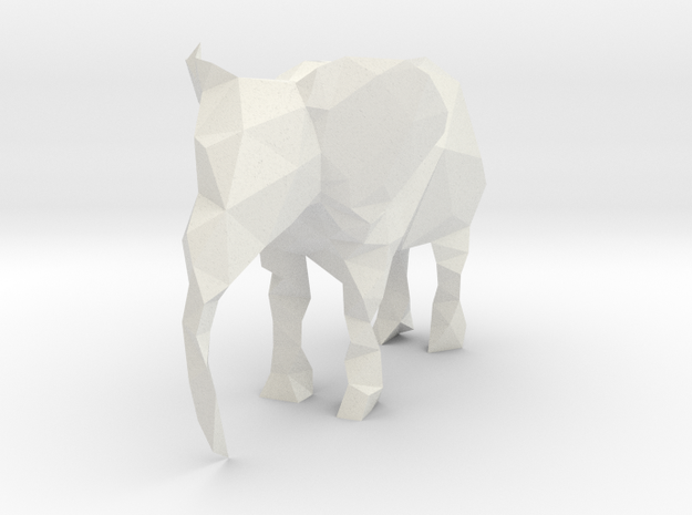 Polygon Elephant in White Natural Versatile Plastic
