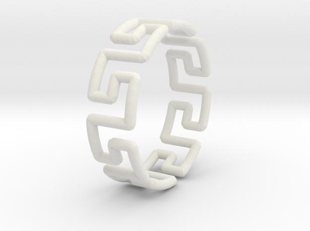 Greek Ring in White Natural Versatile Plastic