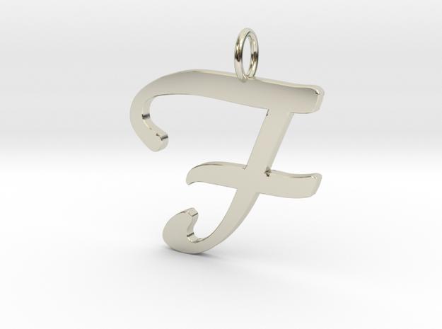 Classic Script Initial Pendant Letter F in 14k White Gold