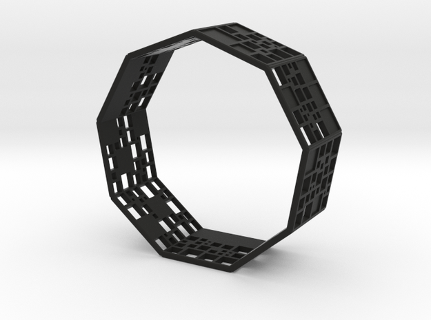 SPSS Bracelet (9 differently dissected squares) in Black Strong & Flexible