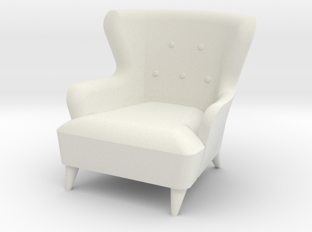 1:24 Moderne Wingback Barrel Chair in White Strong & Flexible