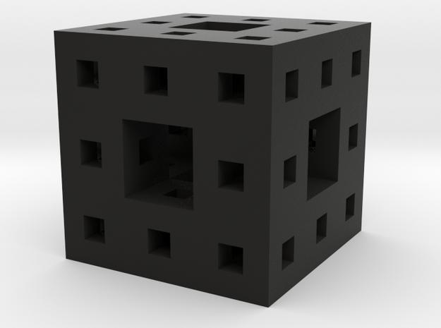 Tiny Menger Sponge Pendant/Charm/Sculpture in Black Strong & Flexible