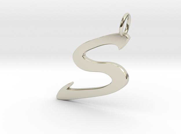 S Classic Script Initial Pendant Letter  in 14k White Gold