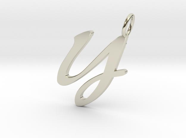 Y Classic Script Initial Pendant in 14k White Gold