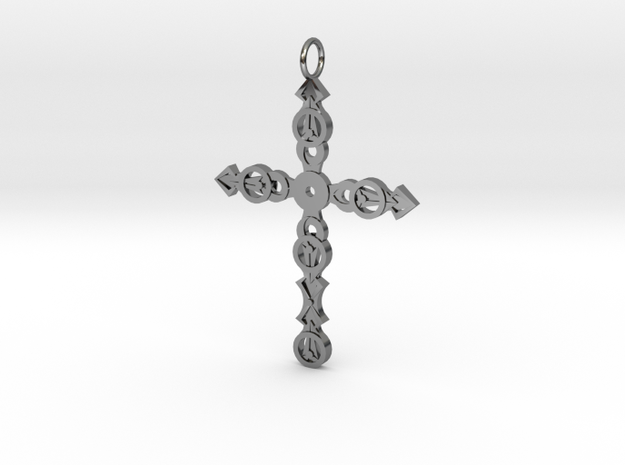 Ornate Cross in Fine Detail Polished Silver
