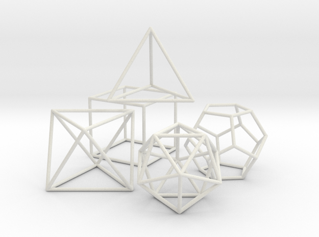 Platonics Solids colored - Primary Forms in White Natural Versatile Plastic