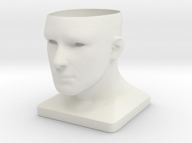 Human Face Planter V2 - H100MM in White Natural Versatile Plastic