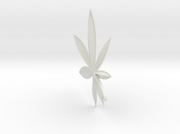 Cannabis Charm in White Natural Versatile Plastic