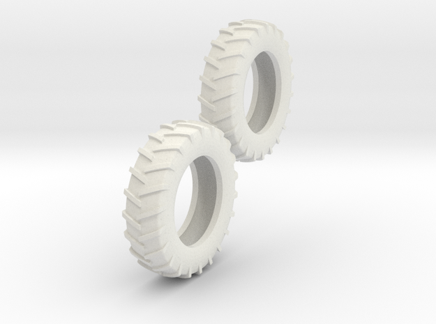 1:64 18.4-38 Tire Pair in White Natural Versatile Plastic