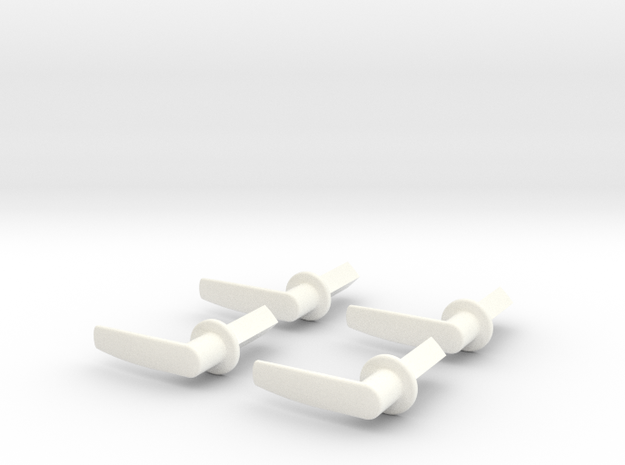 Scale Helicopter Handle L21mm in White Strong & Flexible Polished