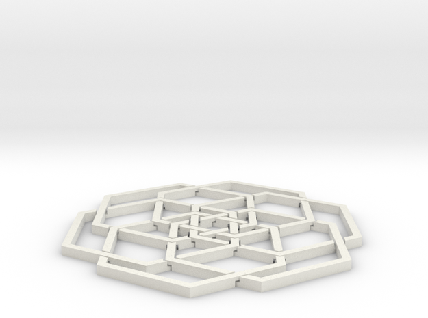 Hex Flower Coaster 80mm in White Strong & Flexible