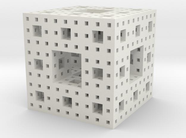 Menger Sponge, 5 cm, level 4 in White Strong & Flexible