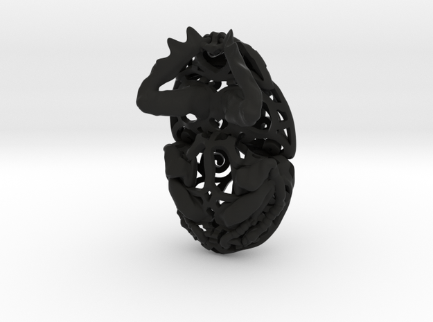 Dung Beetle (Scarab) Filagree Pendant 6cm 3d printed