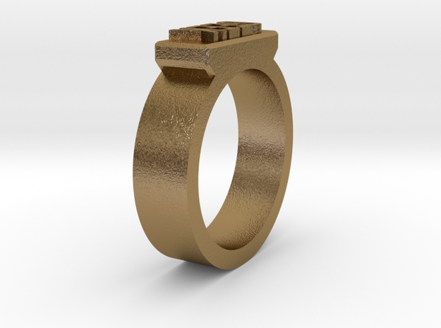 Geek Ring Size 11 in Polished Gold Steel