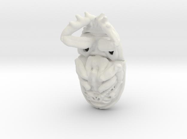 Scarab Pendant - Beetle 3.7cm - style 3 in White Natural Versatile Plastic