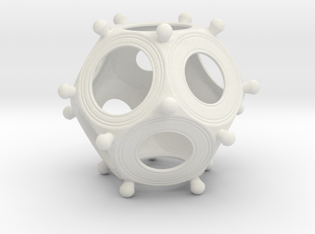 Roman Dodecahedron Medium in White Natural Versatile Plastic