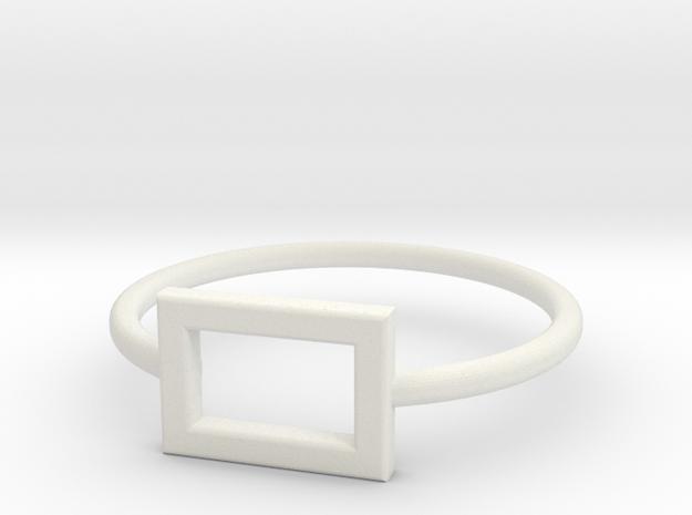 Midi Ring, chic and subtle, 14mm inner diameter in White Natural Versatile Plastic