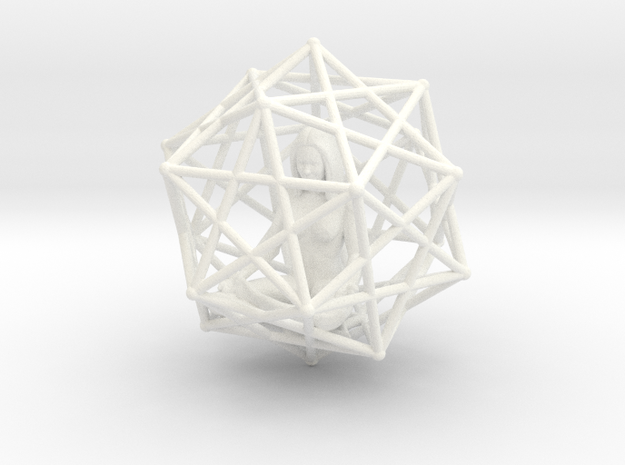 Merkabah Starship Meditation 40mm Dodecahedral in White Strong & Flexible Polished