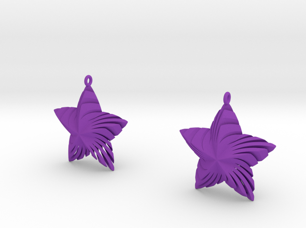 Tortuous Stars Earrings in Purple Processed Versatile Plastic
