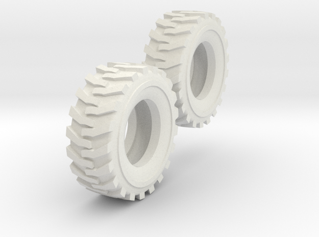 1:64 scale 12-16.5 Skid Steer Tires in White Natural Versatile Plastic