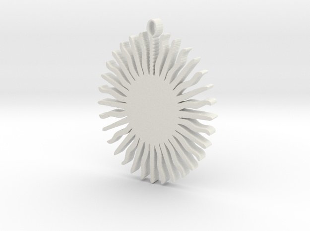 Sun Pendant in White Natural Versatile Plastic