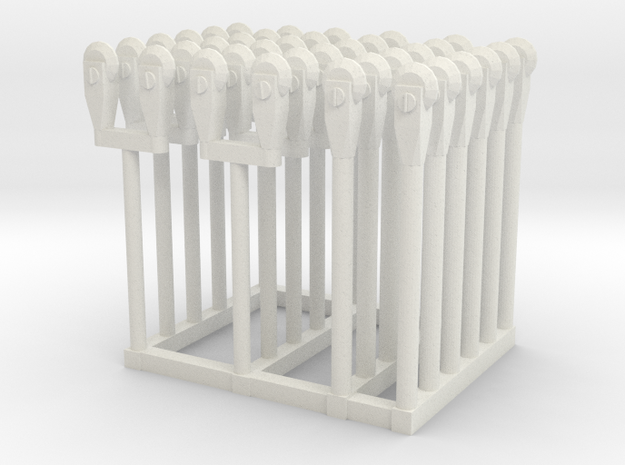 Parking Meters HO Scale in White Natural Versatile Plastic