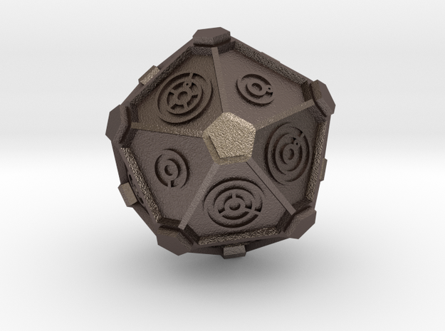 Dr. Who Gallifreyan D20 (20mm) in Polished Bronzed Silver Steel