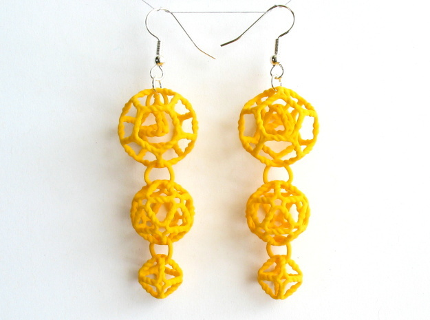 Platonic Progression Earrings - Organic 3d printed Earrings printed in yellow strong and flexible, with earwires added.