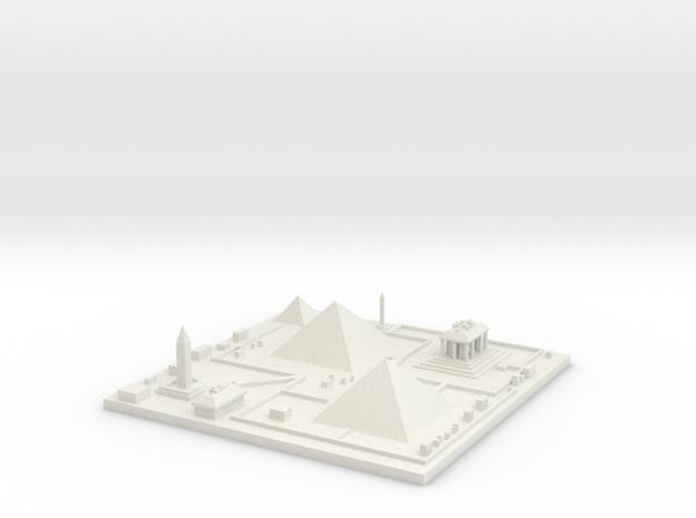 Great pyramids of Giza 7''x7'' in White Natural Versatile Plastic