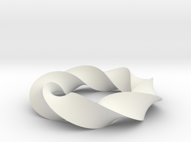Mobius Loop - Triangle 7/3 twist in White Natural Versatile Plastic