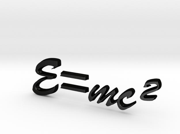 E=mc^2 3D B in Matte Black Steel