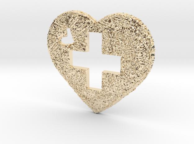 Love Switzerland Heart 3D 50mm in 14K Yellow Gold