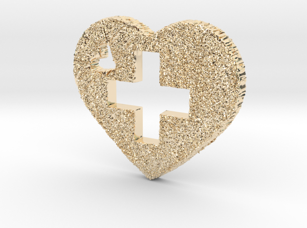 Love Switzerland Heart 3D in 14K Yellow Gold