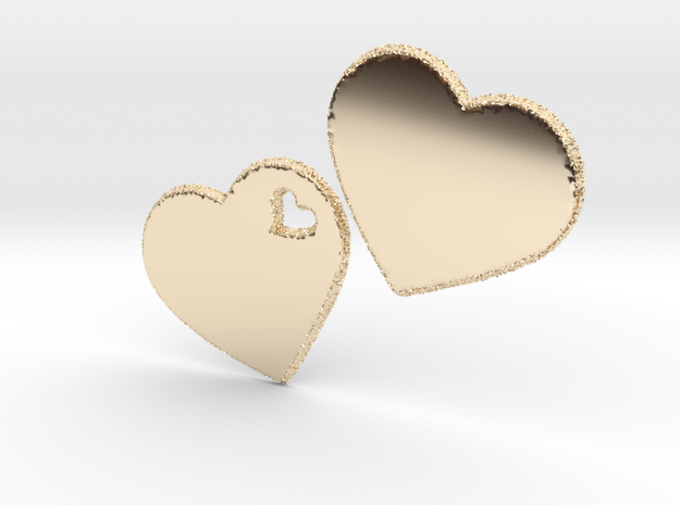 LOVE 3D Hearts 80mm in 14K Yellow Gold