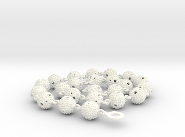 Textured Ball Necklace - 56cm in White Processed Versatile Plastic