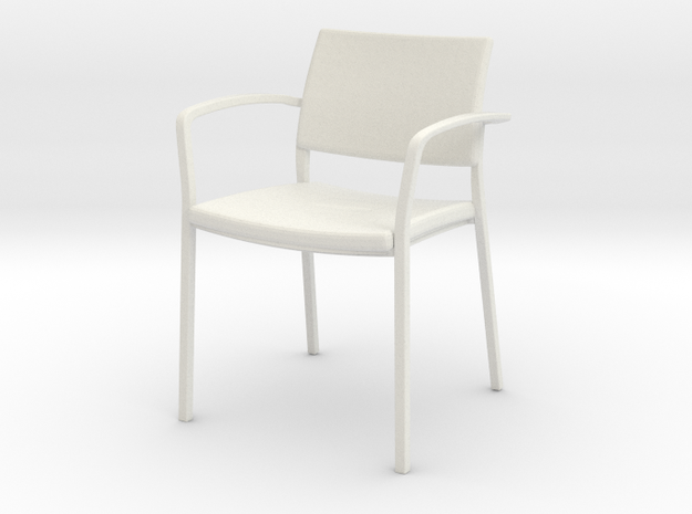 Stylex Brooks Arm Chair 1:24 Scale in White Natural Versatile Plastic