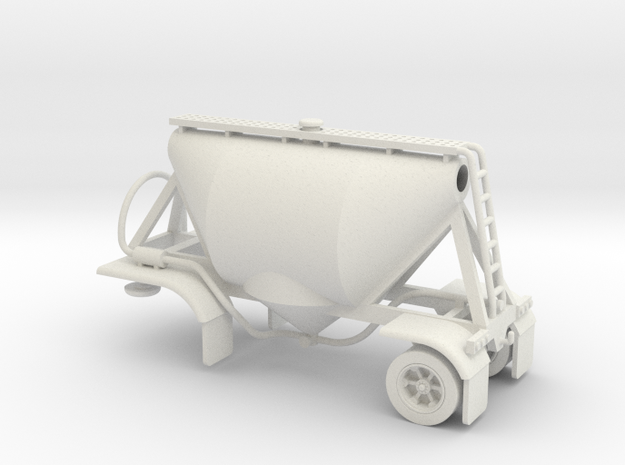 HO 1/87 Shorty Dry Bulk Trailer 07a (no dolly) in White Natural Versatile Plastic