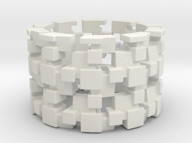 Tilt Cubes Ring Size 8 in White Strong & Flexible