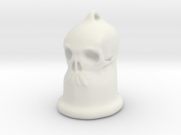 Skull Bell Pendent in White Natural Versatile Plastic