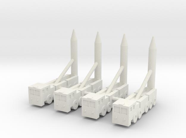 1/350 Chinese DF-21C MRBM (x4) in White Natural Versatile Plastic