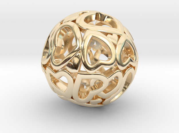 Heartball 20mm in 14K Gold