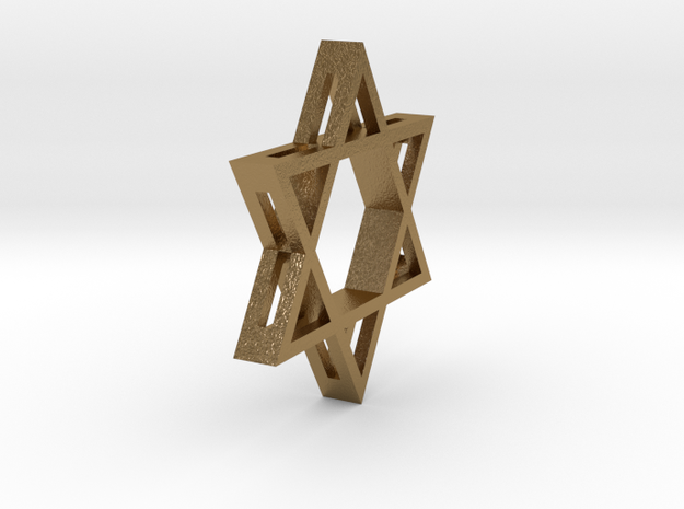 Small Star of David (with Hole) in Polished Gold Steel