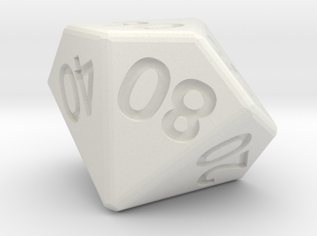 Percentile 10-sided die (d10) 3d printed